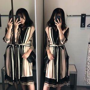 NWT Zara Size M Striped Knee Shirt Dress